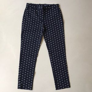 GAP slim crop navy polka dot pants